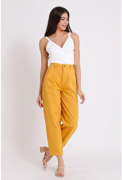 Faf Yüksek Bel Jeans Balon Tipi Hardal Yan Cep 2088
