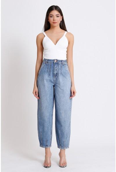 Faf Yüksek Bel Jeans Balon Tipi Mavi Yan Cep 2094