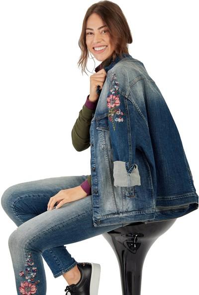Galvanni Kadın Mavi Ceket