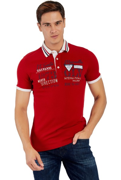 Galvanni Erkek Kırmızı Polo Yaka T-Shirt