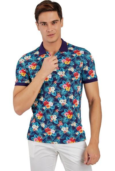 Galvanni Erkek Mavi Polo Yaka T-Shirt