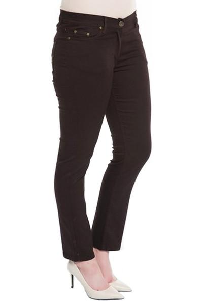 Günay Kadın Pantolon Rg1029Pb Kanvas Yüksek Bel Düz Paça