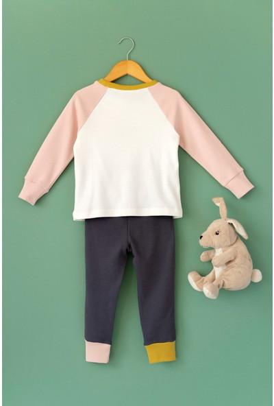 Cigit Tavşan Aplikeli Renk Bloklu Pijama Takımı