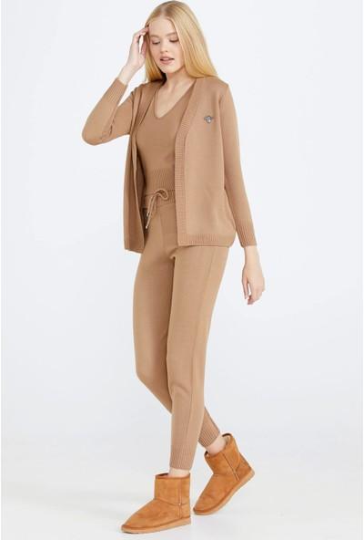 Sementa Sim Şeritli Kadın Üçlü Triko Takım - Kamel