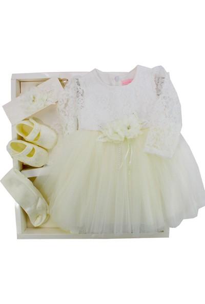 Pugi Baby Roba Çiçek Kolu Güpürlü Kız Takım Krem Rengi 3 - 6 Ay