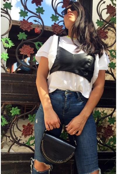 Stella El Siyah Kapaklı Zincir Detaylı El ve Omuz Çantası- Askılı Saplı