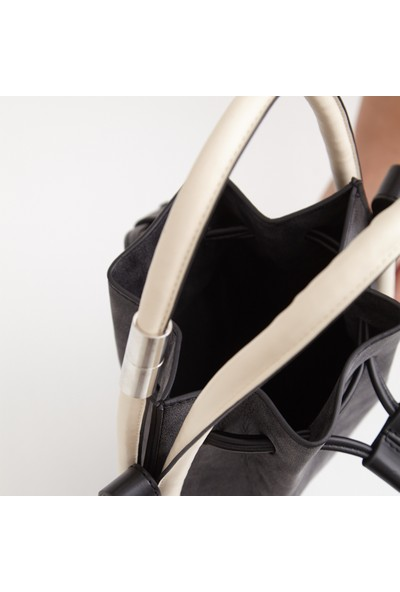 Icon-X Charlotte Siyah Büzgülü Kadın El ve Omuz Çantası- Askılı Saplı