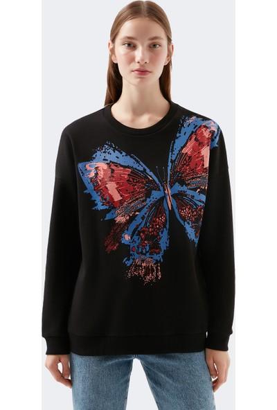 Mavi Kadın Kelebek Baskılı Siyah Sweatshirt 1600410-900