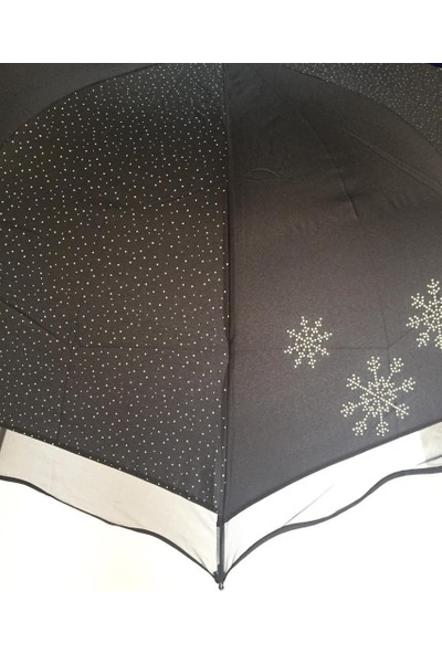 Almera Kar Tanesi Desenli Bayan Şemsiye