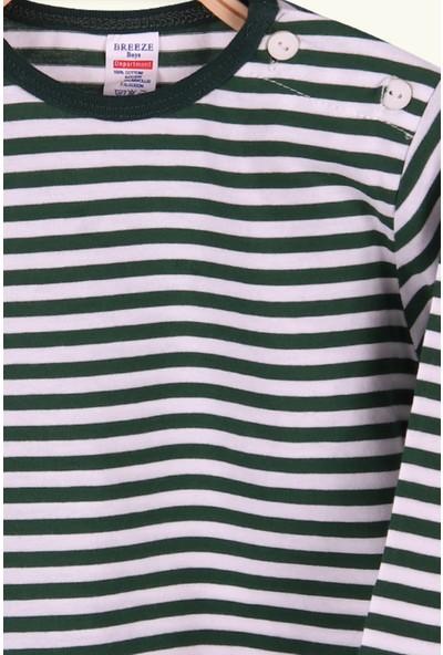 Breeze Erkek Bebek Uzun Kollu Tişört Patlı Çizgili Koyu Yeşil 9 Ay-3 Yaş
