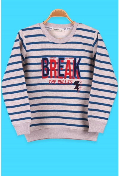 Breeze Erkek Çocuk Sweatshirt Baskılı Bej 5-10 Yaş