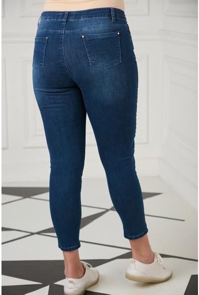 Brendon Büyük Beden Kadın Kot Pantolon 1492 Lacivert/navy 20W34001492