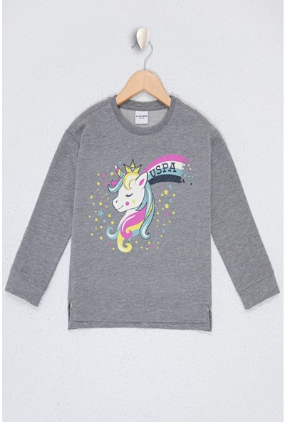 U.S. Polo Assn. Kız Çocuk Gri Sweatshirt 50226124-VR086