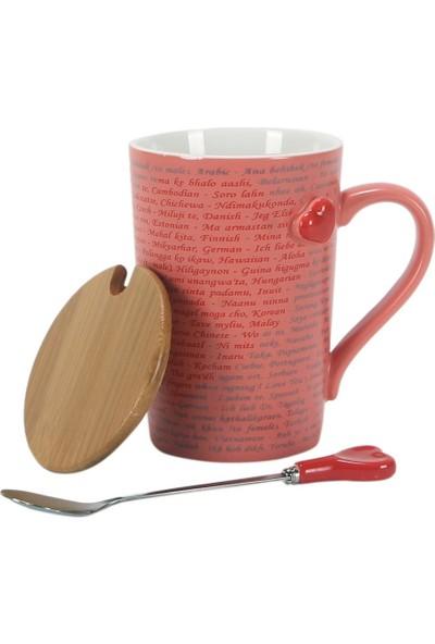 Hediyekanalı Yüz Dilde Seni Seviyorum Tasarımlı Kupa Gri Fil Peluş 25 cm Hediye Paketi