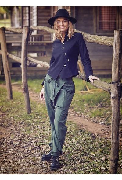 Los Banditos Kruvaze Bağcıklı Elastik Paça Haki Kışlık Şalvar Pantolon