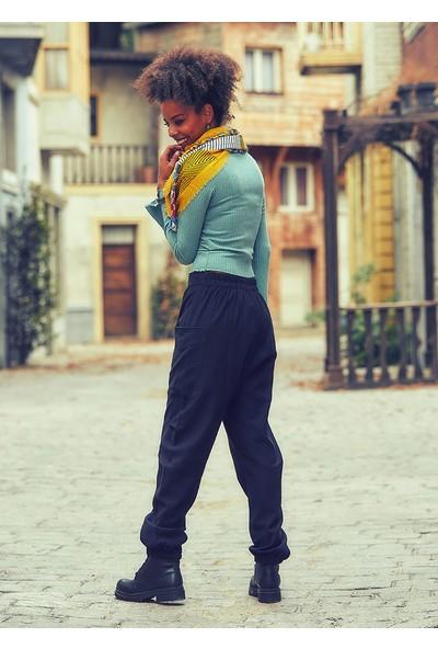 Los Banditos Kruvaze Bohem Elastik Paça Siyah Kışlık Şalvar Pantolon
