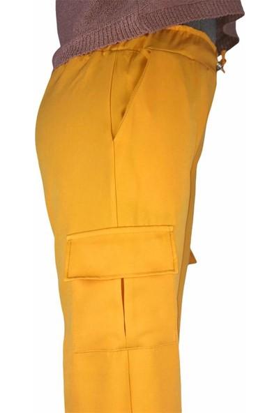 Edues Sarı Yan Cepli Kadın Kargo Pantolon