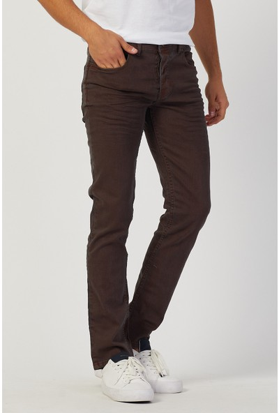 Serseri Jeans Slim Fit Erkek Kahverengi Klasik Pantolon