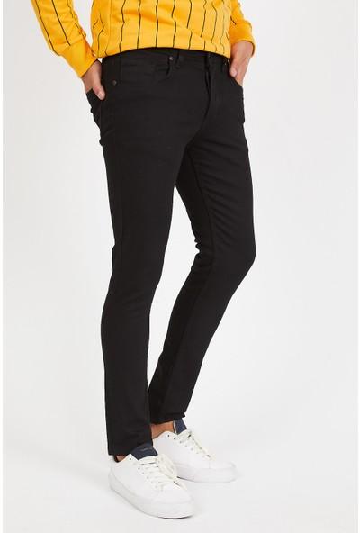Serseri Jeans Slim Fit Erkek Siyah Renk Klasik Pantolon