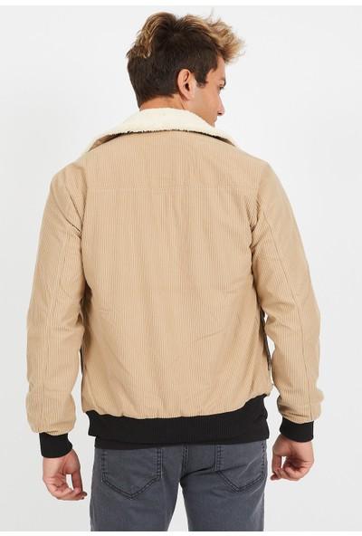 Serseri Jeans Erkek Bej Fitilli Kadife Bej Kürklü Ceket