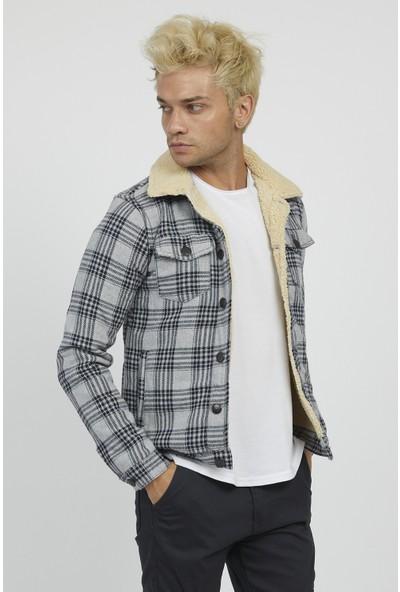 Serseri Jeans Erkek Gri Renk Siyah Ekoseli Bej Kürklü Ceket