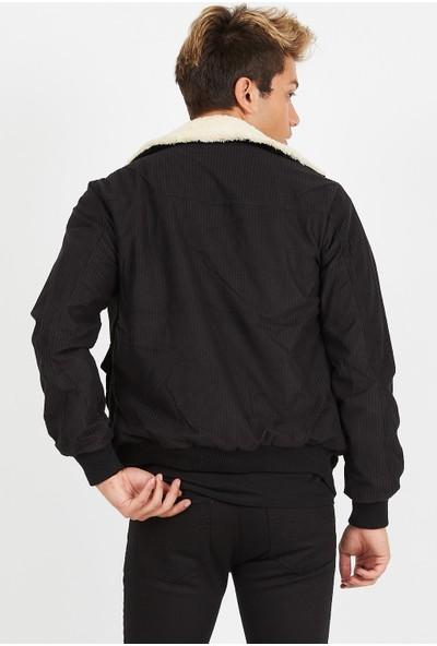Serseri Jeans Erkek Siyah Fitilli Kadife Bej Kürklü Ceket