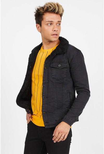 Serseri Jeans Erkek Slim Fit Füme Kumaş Siyah Kürklü Ceket