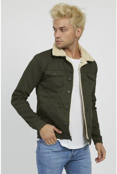 Serseri Jeans Erkek Slim Fit Haki Kumaş Bej Kürklü Ceket