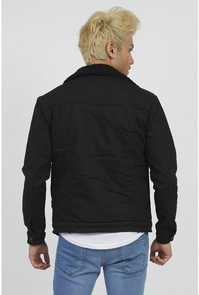 Serseri Jeans Erkek Slim Fit Siyah Kumaş Siyah Kürklü Ceket