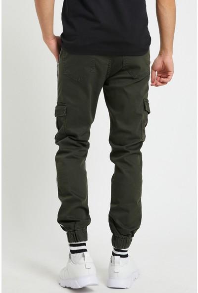 Serseri Jeans Haki Renk Likralı Slim Fit Yanları Şeritli Kargo Cep Pantolon