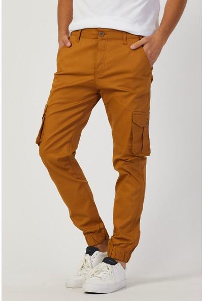 Serseri Jeans Hardal Renk Likralı Slim Fit Körüklü Cep Kargo Pantolon