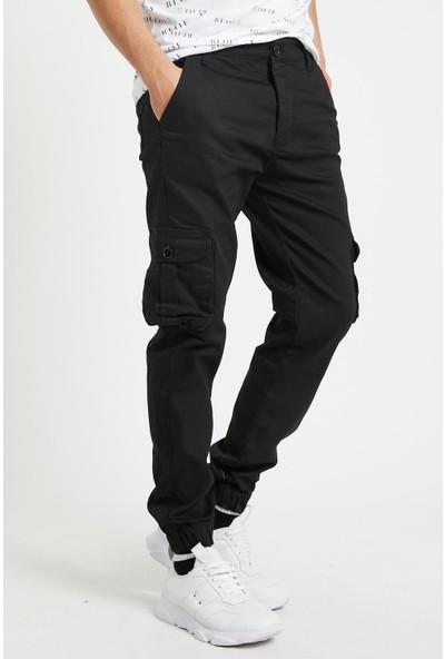Serseri Jeans Siyah Renk Likralı Slim Fit Körüklü Cep Kargo Pantolon