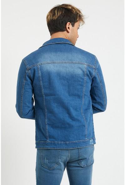 Serseri Jeans Slim Fit Destroy Detaylı Likralı Erkek Mavi Renk Kot Ceket