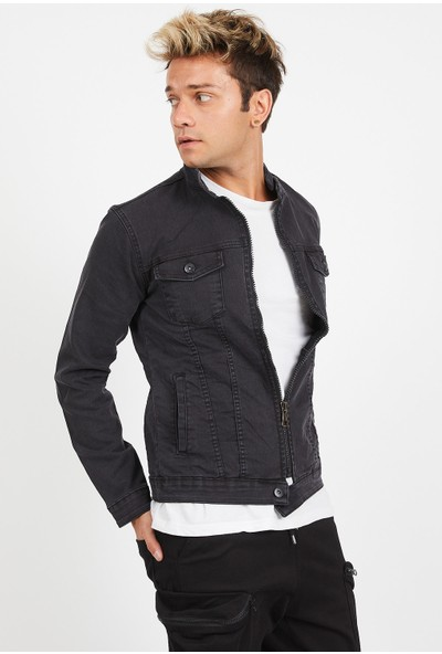Serseri Jeans Slim Fit Fermuarlı Likralı Erkek Füme Kot Ceket