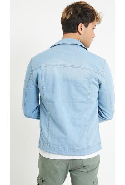 Serseri Jeans Slim Fit Likralı Erkek Buz Mavi Kot Ceket