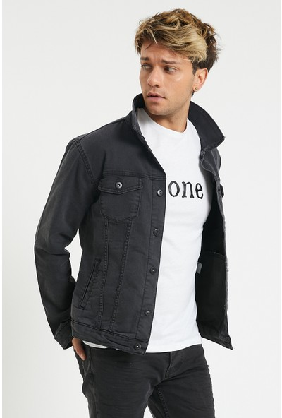 Serseri Jeans Slim Fit Likralı Erkek Füme Renk Kot Ceket