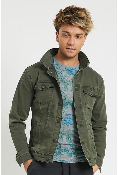 Serseri Jeans Slim Fit Likralı Erkek Haki Renk Kot Ceket