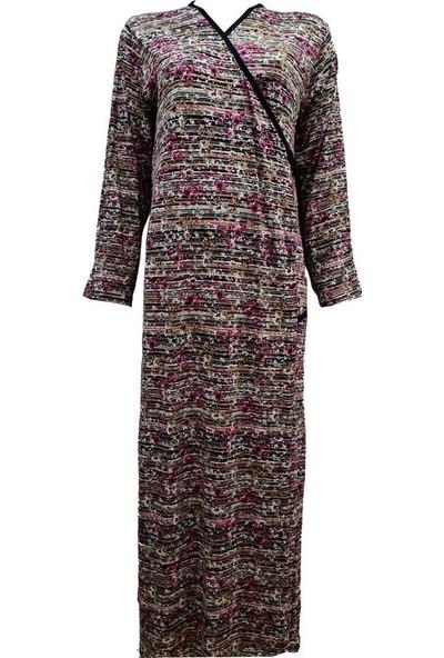 Hazal Namaz Elbisesi Viskon Kumaş Pembe Çiçek Çizgi Desen