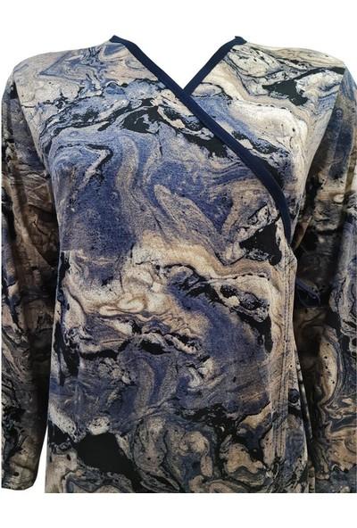 Hazal Namaz Elbisesi Viskon Kumaş Mavi Batik Desen