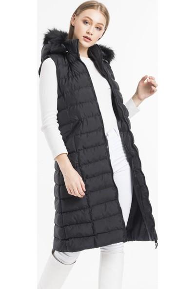 Moda Arven Siyah Mat Çift Fermuarlı Kapüşonlu Uzun Şişme Yelek