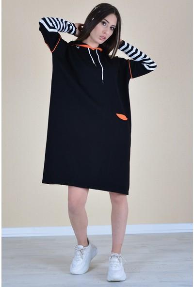 Butik Buruc Kadın Siyah Çizgili Kapşonlu Tunik