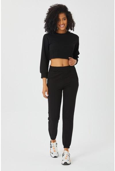 4 Sisters Fashion Siyah Crop Sweatshirt Eşofman Takımı