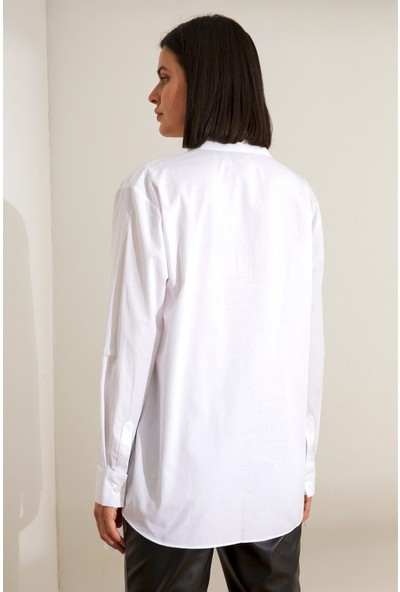 Setre Ekru Asimetrik Detaylı Uzun Kol Tunik