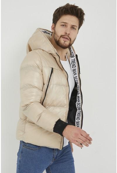 Maldia Scor Şeritli Şişme Erkek Mont Krem Rengi XL