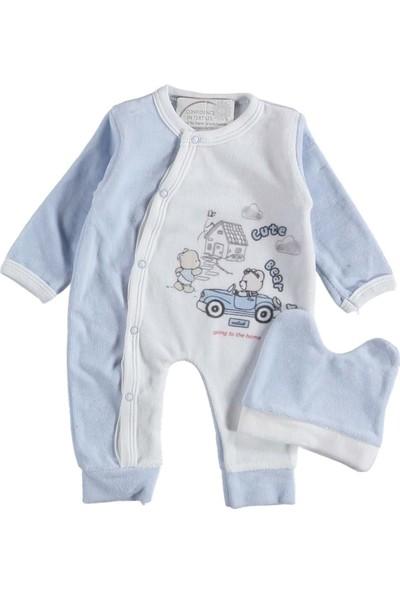 Melish Bebe Arabalı Ayıcık Baskılı Kadife Tulum Mavi