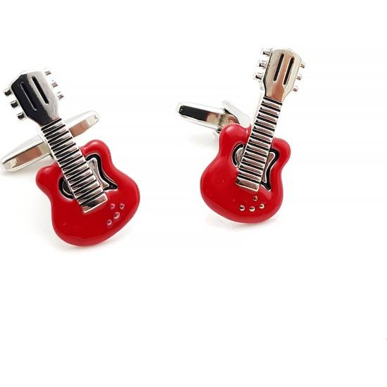Chavin Kırmızı Elektro Gitar Çelik Erkek Kol Düğmesi