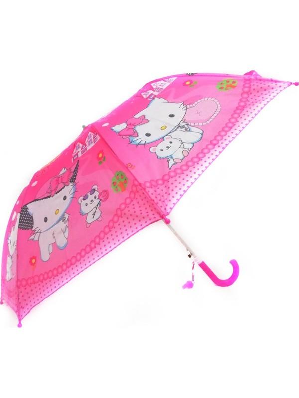 İstoç Toptan Kız Çocuk Şemsiyesi, Yarı Otomatik Mekanizma Küçük Boy 43 cm