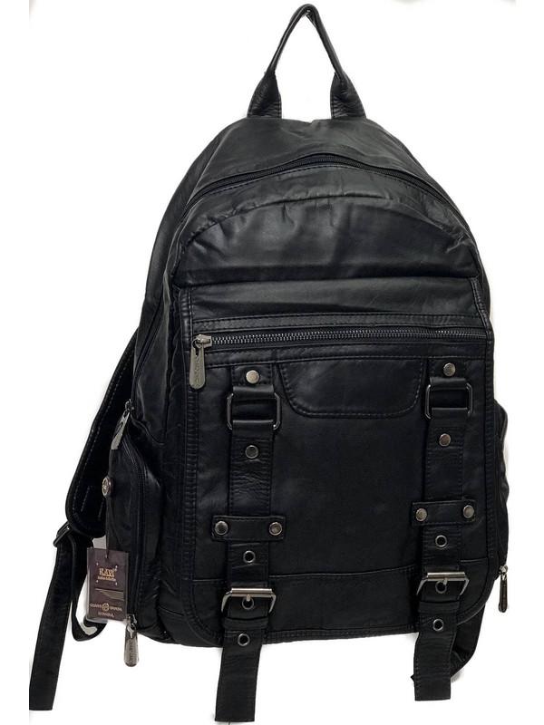 Kavi Yıkanmış Deri Büyük ve Geniş Çanta Ebat 40 cm 30 cm 17 cm Derinlik Siyah Renk