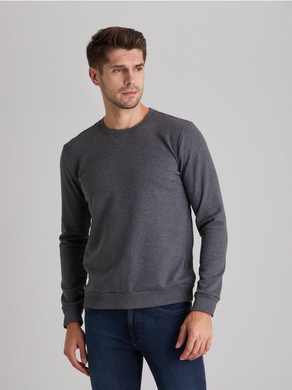 Dufy Füme Bisiklet Yaka Düz Erkek Sweatshirt Modern Fit