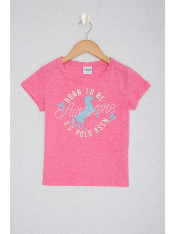 U.S. Polo Assn. Kız Çocuk Pembe T-Shirt 50218897-VR041